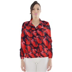 The Red Butterflies Sticking Together In The Nature Wind Breaker (women)
