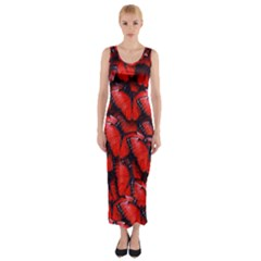 The Red Butterflies Sticking Together In The Nature Fitted Maxi Dress