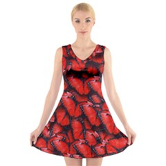 The Red Butterflies Sticking Together In The Nature V Neck Sleeveless Skater Dress
