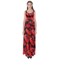 The Red Butterflies Sticking Together In The Nature Empire Waist Maxi Dress