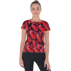 The Red Butterflies Sticking Together In The Nature Short Sleeve Sports Top