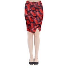 The Red Butterflies Sticking Together In The Nature Midi Wrap Pencil Skirt