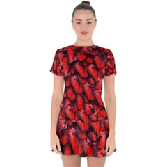 The Red Butterflies Sticking Together In The Nature Drop Hem Mini Chiffon Dress