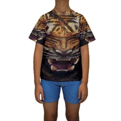 Tiger Face Kids  Short Sleeve Swimwear