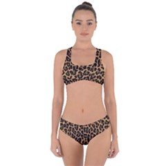 Tiger Skin Art Pattern Criss Cross Bikini Set