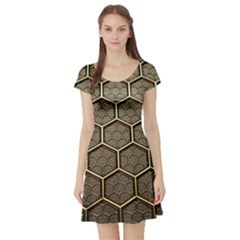 Texture Hexagon Pattern Short Sleeve Skater Dress