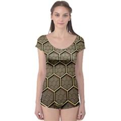 Texture Hexagon Pattern Boyleg Leotard