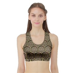 Texture Hexagon Pattern Sports Bra With Border