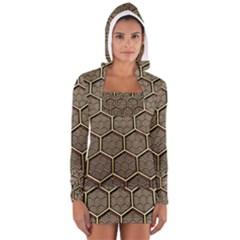 Texture Hexagon Pattern Long Sleeve Hooded T Shirt