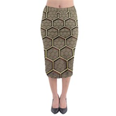 Texture Hexagon Pattern Midi Pencil Skirt