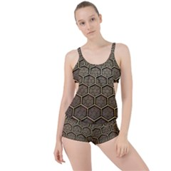 Texture Hexagon Pattern Boyleg Tankini Set
