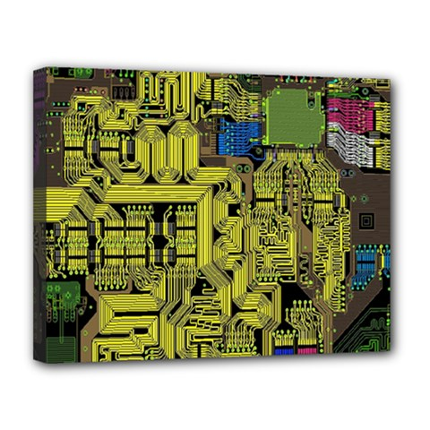 Technology Circuit Board Canvas 14  X 11