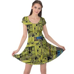 Technology Circuit Board Cap Sleeve Dresses