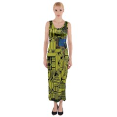 Technology Circuit Board Fitted Maxi Dress