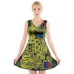 Technology Circuit Board V Neck Sleeveless Skater Dress