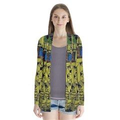 Technology Circuit Board Drape Collar Cardigan