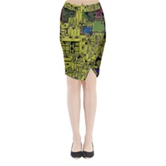 Technology Circuit Board Midi Wrap Pencil Skirt