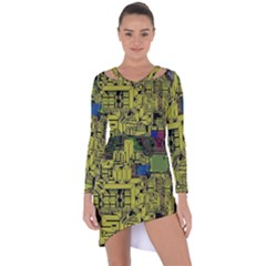 Technology Circuit Board Asymmetric Cut Out Shift Dress