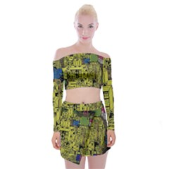 Technology Circuit Board Off Shoulder Top With Skirt Set