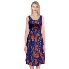 Texture Batik Fabric Midi Sleeveless Dress