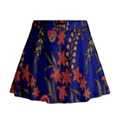 Texture Batik Fabric Mini Flare Skirt