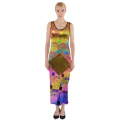 Technology Circuit Pentium Die Fitted Maxi Dress