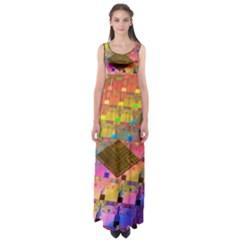 Technology Circuit Pentium Die Empire Waist Maxi Dress