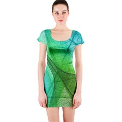 Sunlight Filtering Through Transparent Leaves Green Blue Short Sleeve Bodycon Dress