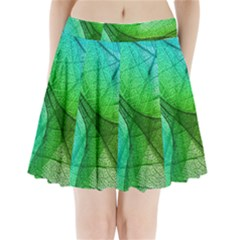 Sunlight Filtering Through Transparent Leaves Green Blue Pleated Mini Skirt