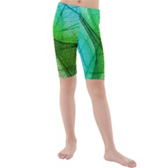Sunlight Filtering Through Transparent Leaves Green Blue Kids  Mid Length Swim Shorts