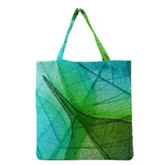 Sunlight Filtering Through Transparent Leaves Green Blue Grocery Tote Bag