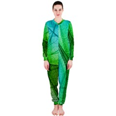 Sunlight Filtering Through Transparent Leaves Green Blue Onepiece Jumpsuit (ladies)
