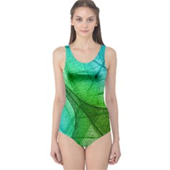 Sunlight Filtering Through Transparent Leaves Green Blue One Piece Swimsuit