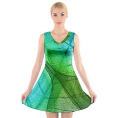 Sunlight Filtering Through Transparent Leaves Green Blue V Neck Sleeveless Skater Dress