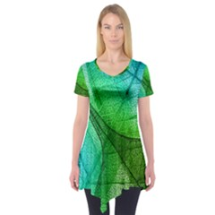 Sunlight Filtering Through Transparent Leaves Green Blue Short Sleeve Tunic
