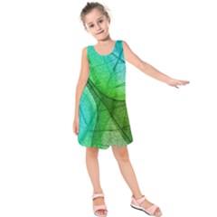Sunlight Filtering Through Transparent Leaves Green Blue Kids  Sleeveless Dress