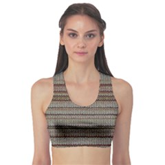 Stripy Knitted Wool Fabric Texture Sports Bra