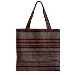 Stripy Knitted Wool Fabric Texture Zipper Grocery Tote Bag
