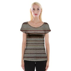 Stripy Knitted Wool Fabric Texture Cap Sleeve Tops