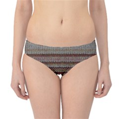 Stripy Knitted Wool Fabric Texture Hipster Bikini Bottoms