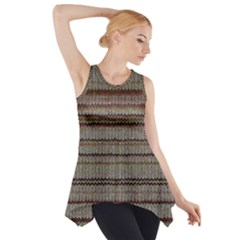 Stripy Knitted Wool Fabric Texture Side Drop Tank Tunic