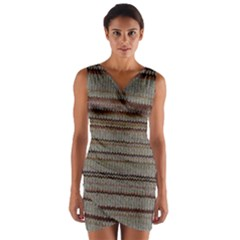 Stripy Knitted Wool Fabric Texture Wrap Front Bodycon Dress