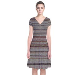 Stripy Knitted Wool Fabric Texture Short Sleeve Front Wrap Dress
