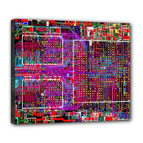Technology Circuit Board Layout Pattern Deluxe Canvas 24  X 20