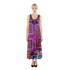 Technology Circuit Board Layout Pattern Sleeveless Maxi Dress