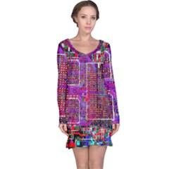 Technology Circuit Board Layout Pattern Long Sleeve Nightdress