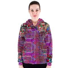 Technology Circuit Board Layout Pattern Women s Zipper Hoodie