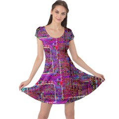 Technology Circuit Board Layout Pattern Cap Sleeve Dresses