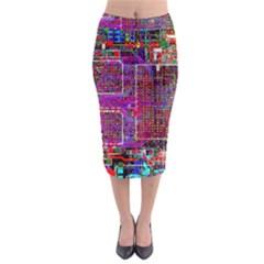 Technology Circuit Board Layout Pattern Midi Pencil Skirt
