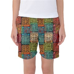 Stract Decorative Ethnic Seamless Pattern Aztec Ornament Tribal Art Lace Folk Geometric Background C Women s Basketball Shorts